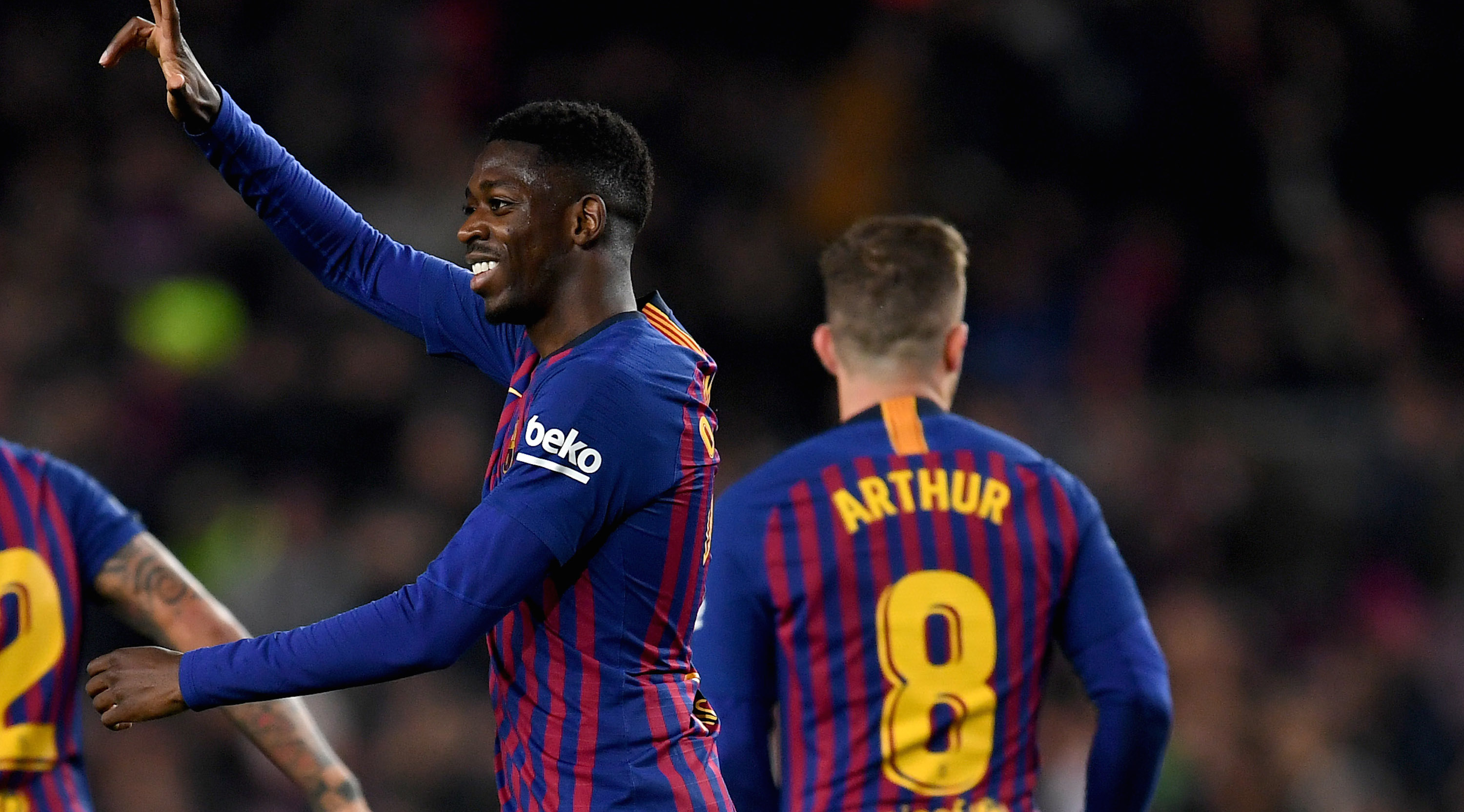 BARCELONA, SPAIN - JANUARY 17: Dembele of FC Barcelona celebrates his goal during the Copa del Rey Round of 16 match between FC Barcelona and Levante at Nou Camp on January 17, 2019 in Barcelona, Spain. (Photo by David Ramos/Getty Images)