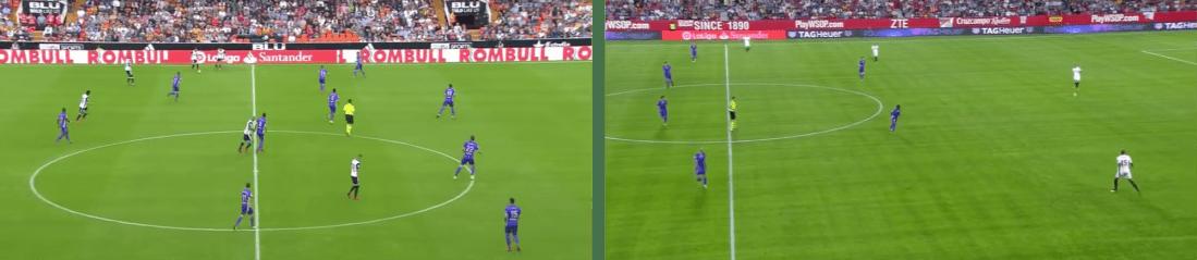 - A la izquierda, el Leganés dibujando las líneas de su bloque medio. A la derecha, formando con un 1-4-4-2 para presionar la salida del rival. -