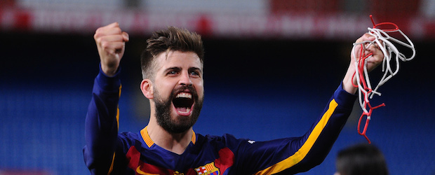 MADRID, SPAIN - MAY 22: Gerard Pique of FC Barcelona celebrates after his team beat Sevilla 2-0 in the Copa del Rey Final between Barcelona and Sevilla at Vicente Calderon Stadium on May 22, 2016 in Madrid, Spain. (Photo by Denis Doyle/Getty Images)