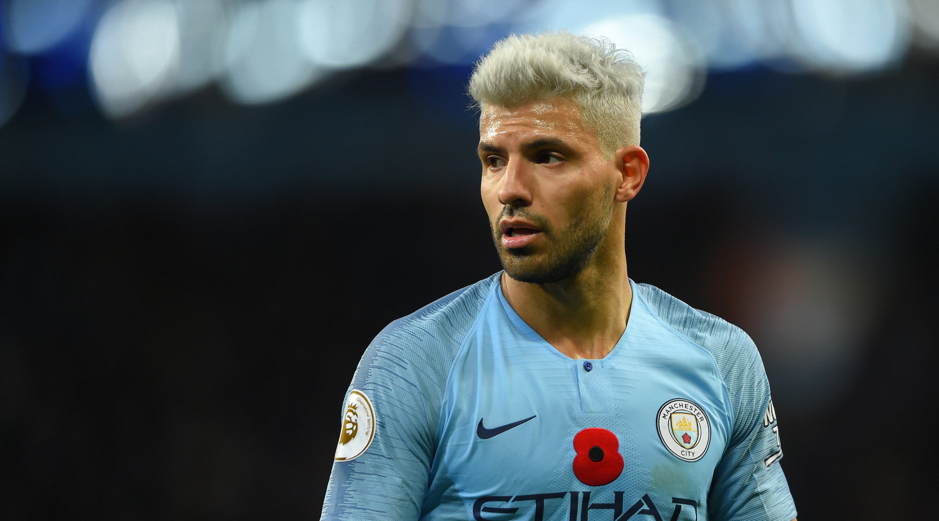 Sergio Aguero of Manchester City looks on during the Premier League match between Manchester City and Manchester United at Etihad Stadium on November 11, 2018 in Manchester, United Kingdom. (Photo by Mike Hewitt/Getty Images)