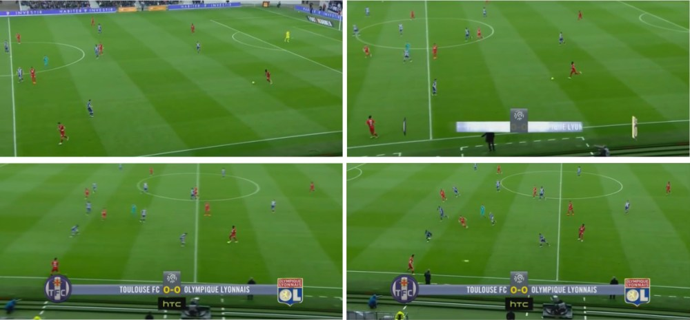 El juego de Samuel Umtiti. Salida desde atrás dividiendo atenciones.