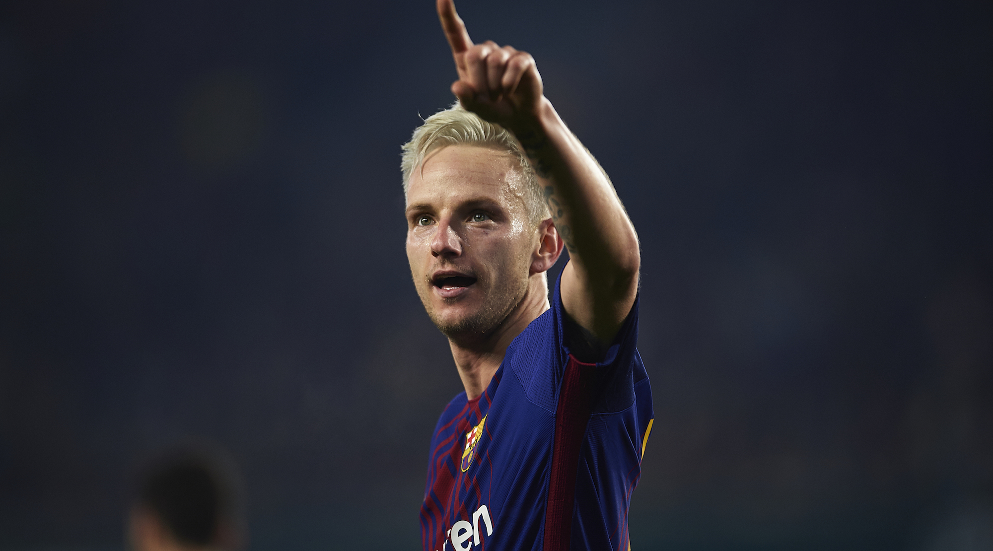 SEVILLE, SPAIN - JANUARY 21: Ivan Rakitic of FC Barcelona celebrates after scoring the first goal for FC Barcelona during the La Liga match between Real Betis and Barcelona at Estadio Benito Villamarin on January 21, 2018 in Seville, . (Photo by Aitor Alcalde/Getty Images)