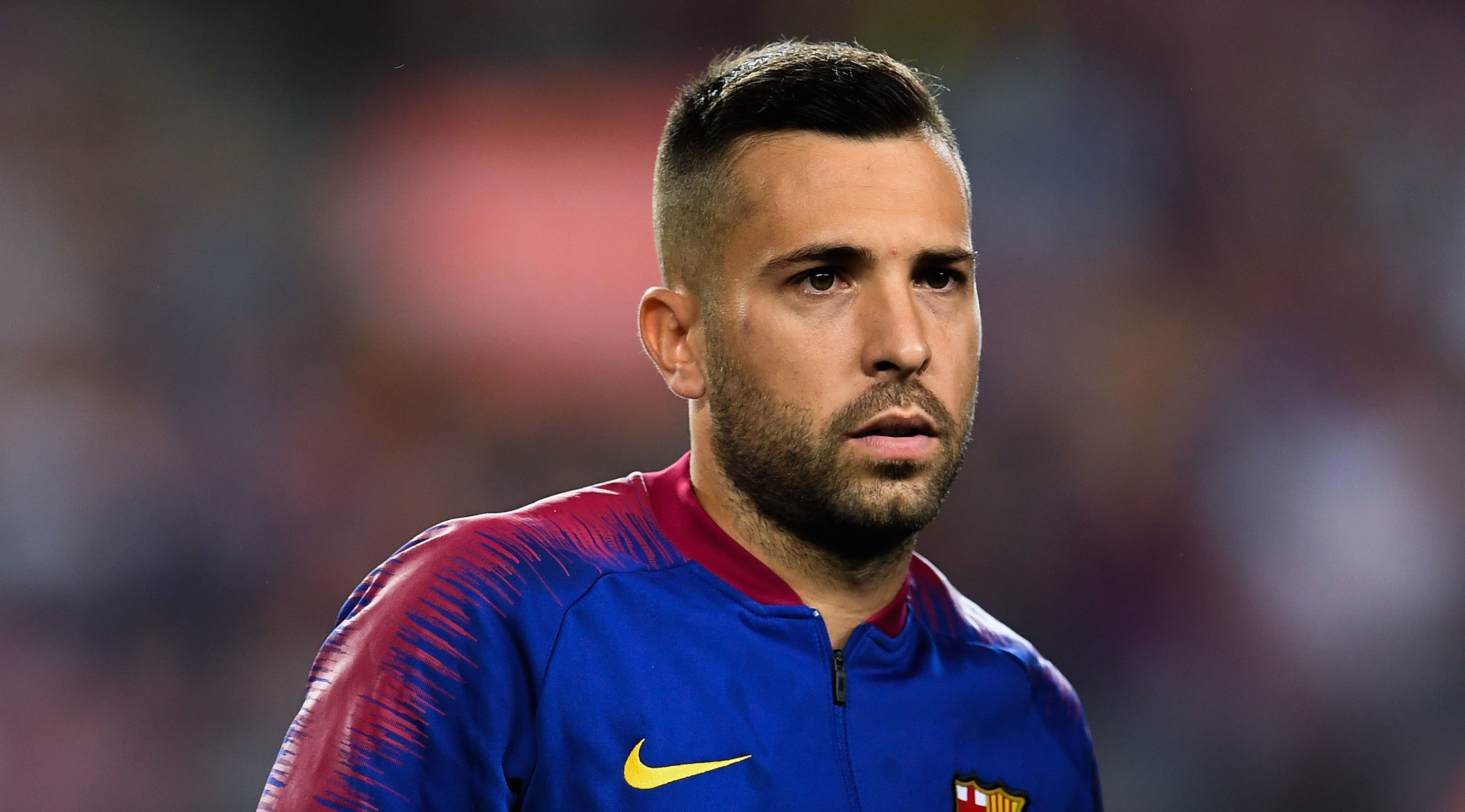 Jordi Alba of FC Barcelona looks on during the La Liga match between FC Barcelona and Deportivo Alaves at Camp Nou on August 18, 2018 in Barcelona, Spain. (Photo by David Ramos/Getty Images)
