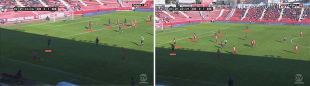 En los compases finales el Barça B dibujó una línea defensiva de cinco hombres con Dongou como lateral izquierdo.