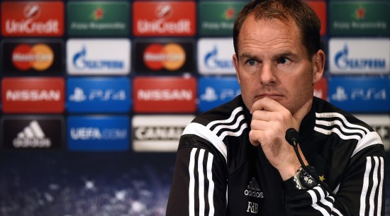 Ajax Amsterdam's Dutch coach Frank de Boer gives a press conference at the Parc des Princes stadium in Paris on November 24, 2014, on the eve of their UEFA Champions League football match against Paris Saint-Germain. AFP PHOTO / FRANCK FIFE (Photo credit should read FRANCK FIFE/AFP/Getty Images)