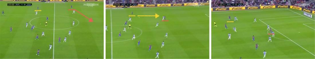 La diagonal fuera-dentro de Paco Alcácer, compensando a Suárez y abriendo la puerta a Jordi Alba.