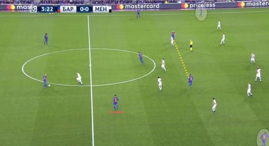 Denis en la base, Iniesta y Messi a la espalda del mediocampo rival, y Arda y Aleix en las alas.