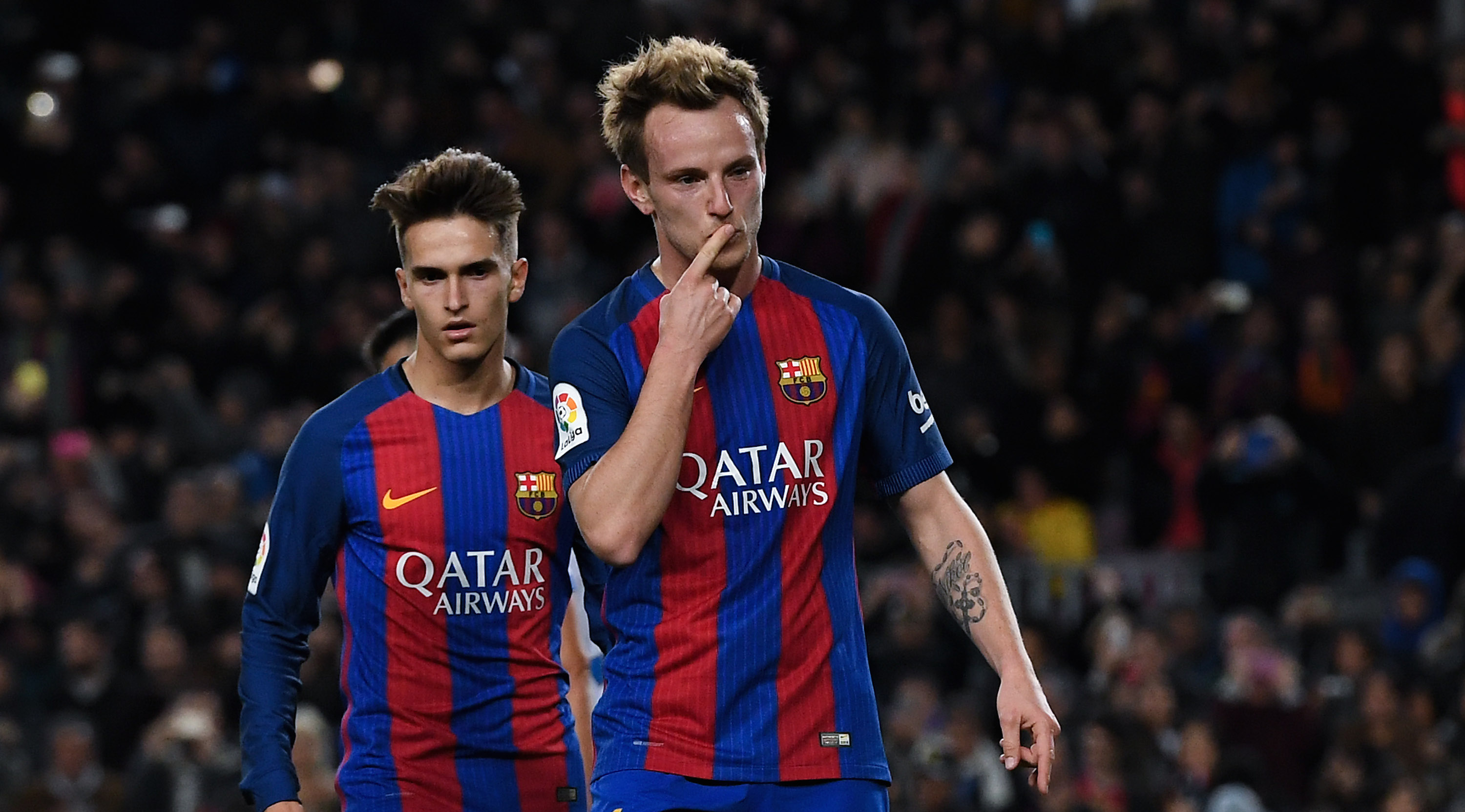 BARCELONA, SPAIN - DECEMBER 21: Ivan Rakitic of FC Barcelona celebrates after scoring from the penalty spot his team's second goal during the Copa del Rey round of 32 second leg match between FC Barcelona and Hercules at Camp Nou on December 21, 2016 in Barcelona, Spain. (Photo by David Ramos/Getty Images)