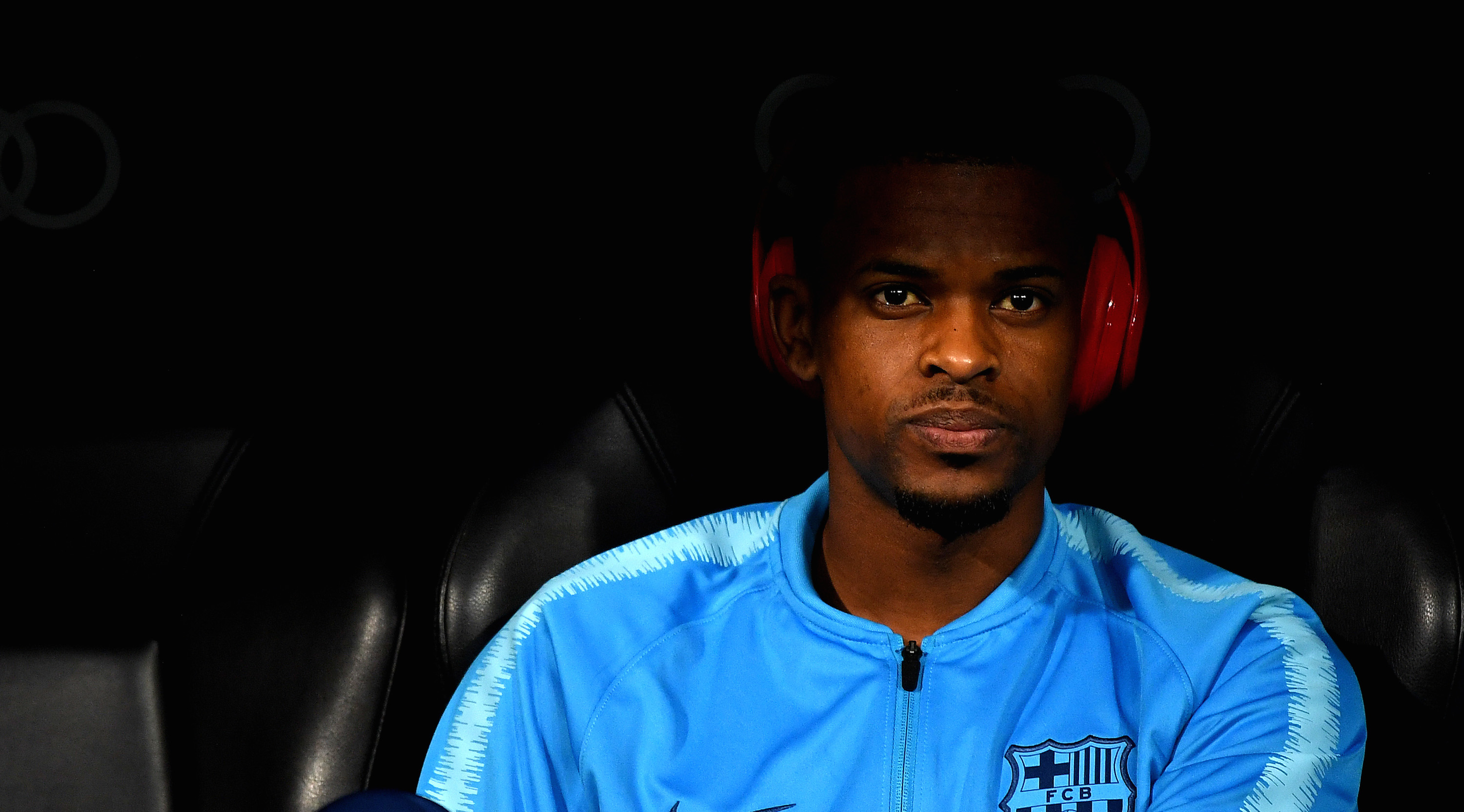 MADRID, SPAIN - MARCH 02: Nelson Semedo of Barcelona sits on the bench ahead of the La Liga match between Real Madrid CF and FC Barcelona at Estadio Santiago Bernabeu on March 02, 2019 in Madrid, Spain. (Photo by David Ramos/Getty Images)