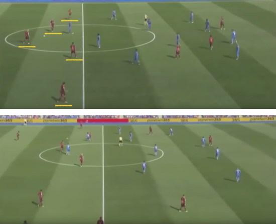 -Las dificultades del Barça para ocupar el entrelíneas del planteamiento defensivo del Getafe.-
