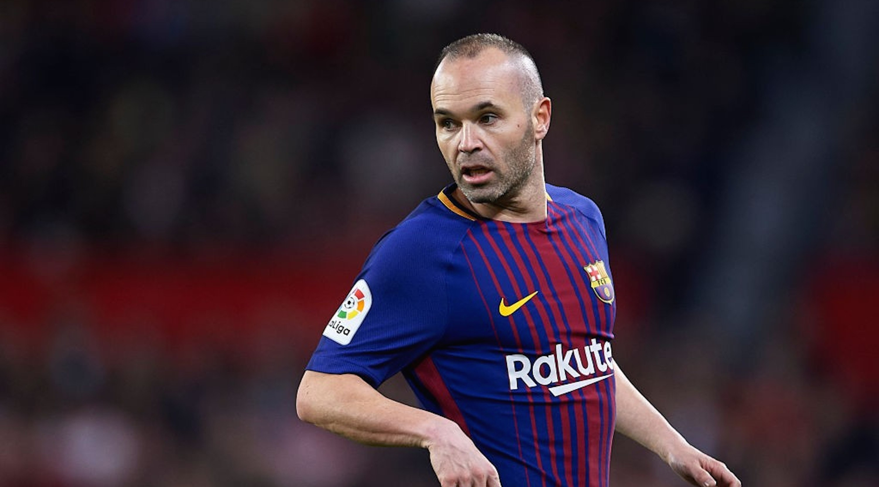 SEVILLE, SPAIN - MARCH 31: Andres Iniesta of FC Barcelona looks on during the La Liga match between Sevilla CF and FC Barcelona at Estadio Ramon Sanchez Pizjuan on March 31, 2018 in Seville, Spain. (Photo by Aitor Alcalde/Getty Images)