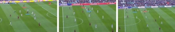 Tres momentos distintos del partido ante la Real Sociedad en que una caída de Suárez (en rojo) a banda liberó de ella a Neymar (en azul).