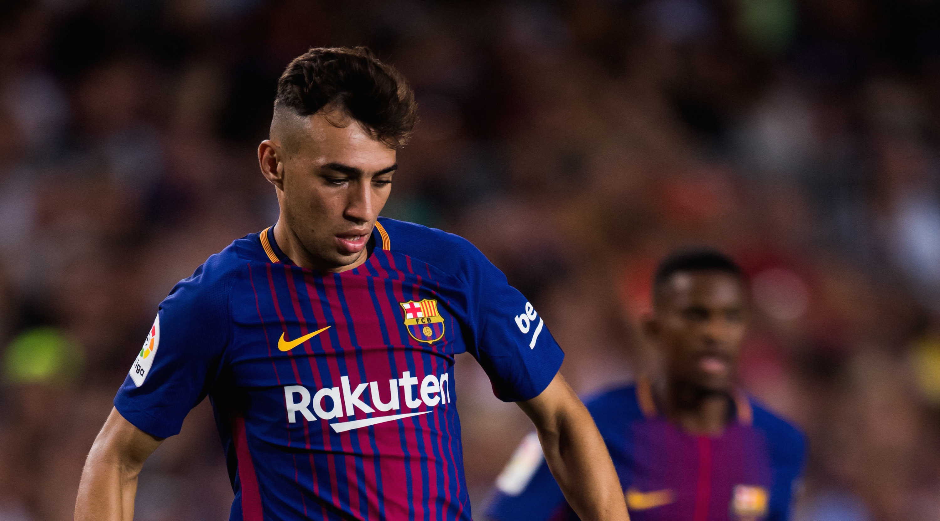 BARCELONA, SPAIN - AUGUST 07: Munir El Haddadi of FC Barcelona conducts the ball during the Joan Gamper Trophy match between FC Barcelona and Chapecoense at Camp Nou stadium on August 7, 2017 in Barcelona, Spain. (Photo by Alex Caparros/Getty Images)