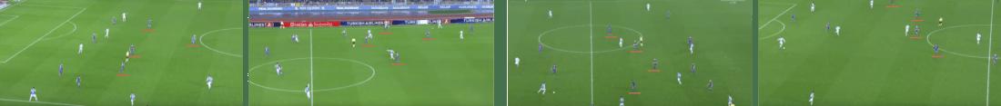 - A la izquierda, la formación 3-1 del mediocampo del Barça en defensa, tanto en campo propio como en campo rival. A la derecha, el cambio a línea de 4 del segundo tiempo. (Click en la imagen para ampliar) -