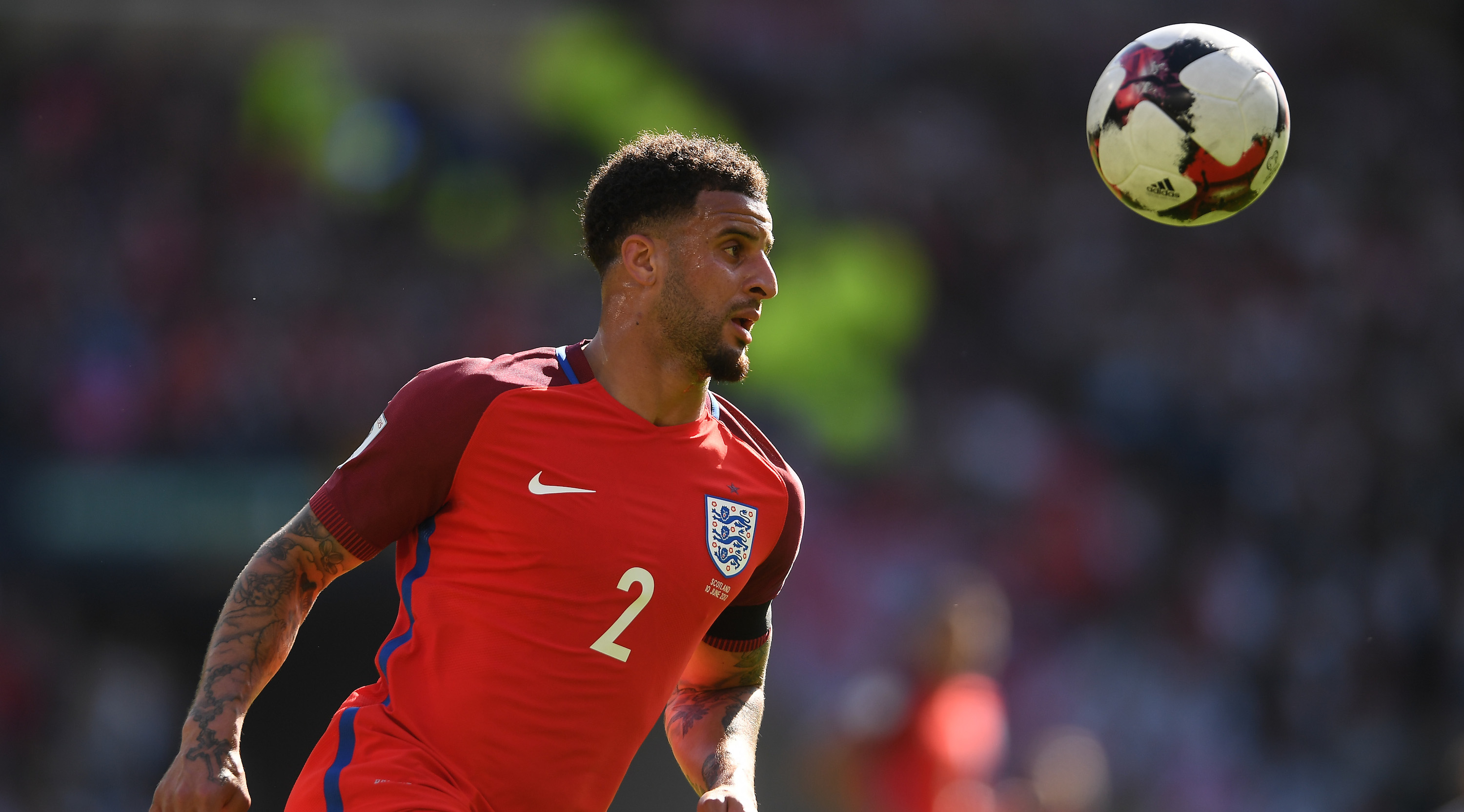 GLASGOW, SCOTLAND - JUNE 10: Kyle Walker of England in action during the FIFA 2018 World Cup Qualifier between Scotland and England at Hampden Park National Stadium on June 10, 2017 in Glasgow, Scotland. (Photo by Mike Hewitt/Getty Images)