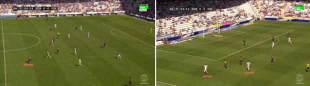 A la izquierda la posición cercana a Sergio Busquets de Rakitic, con Alves abierto a banda y Messi centrado. A la derecha, la superioridad del Córdoba sobre la posición del lateral derecho azulgrana cuando Edimar se sumaba por su banda.