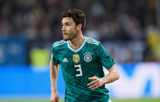 DUESSELDORF, GERMANY - MARCH 23: Jonas Hector of Germany controls the ball during the international friendly match between Germany and Spain at Esprit-Arena on March 23, 2018 in Duesseldorf, Germany. (Photo by Matthias Hangst/Bongarts/Getty Images)