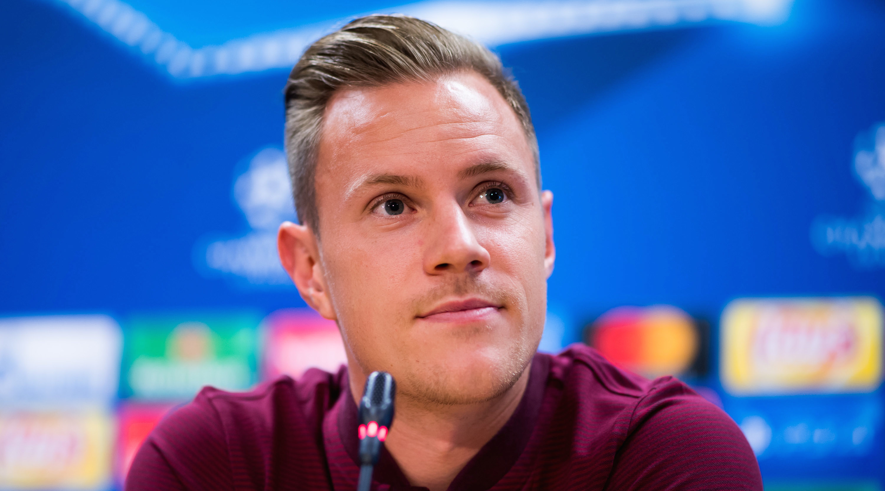 BARCELONA, SPAIN - SEPTEMBER 11: Marc-Andre Ter Stegen of FC Barcelona faces the media during a press conference, on the eve of their UEFA Champions League Group D match against Juventus, on September 11, 2017 in Barcelona, Spain. (Photo by Alex Caparros/Getty Images)