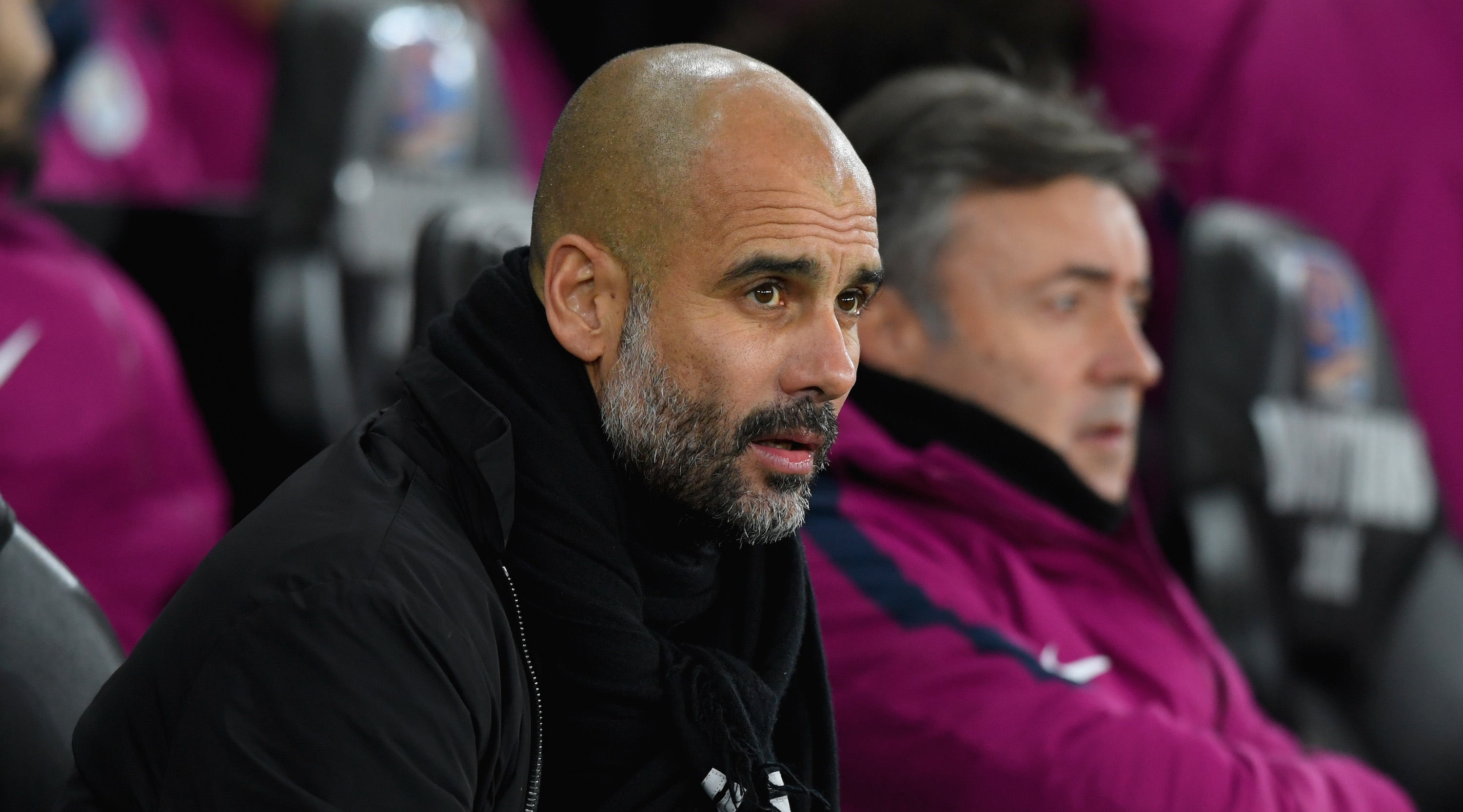 SWANSEA, WALES - DECEMBER 13: Manchester City manager Pep Guardiola reacts on the touchline during the Premier League match between Swansea City and Manchester City at Liberty Stadium on December 13, 2017 in Swansea, Wales. (Photo by Stu Forster/Getty Images)