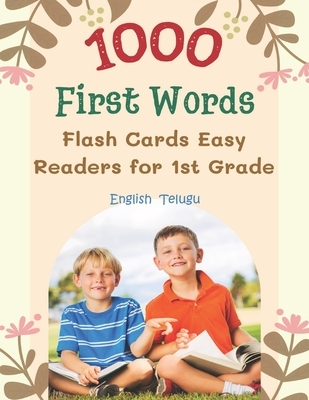 1000 First Words Flash Cards Easy Readers for 1st Grade English Telugu: I can read books my first box set of full sight word list with pictures and si
