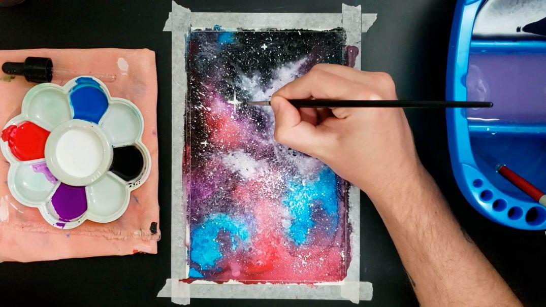 galáxia em guache e aquarela