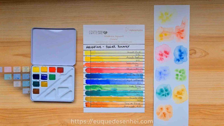 Tabela de cores e teste de expansão da aquarela Aquafine