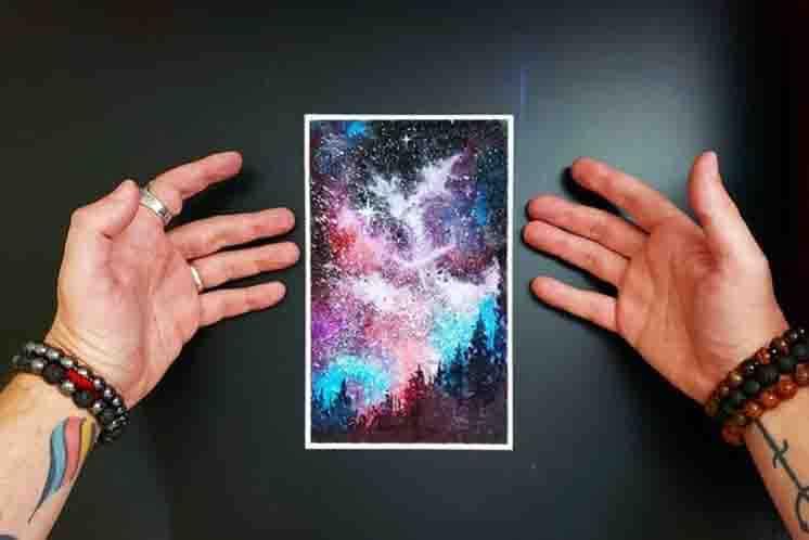 como pintar galaxia com aquarela