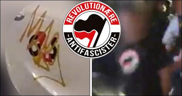 (Foto: 4GS-bil med overmalet logo t.v., person iført Revolutionære Antifascisters logo anholdes af politiet for brand-terror t.h. Kollage lavet på baggrund af optagelser fra Ekstrabladet af Uriasposten)