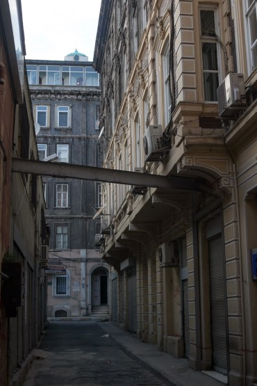 This alley leads to the entrance for the St. Panteleimon Russian Orthodox, which sits on the roof.
