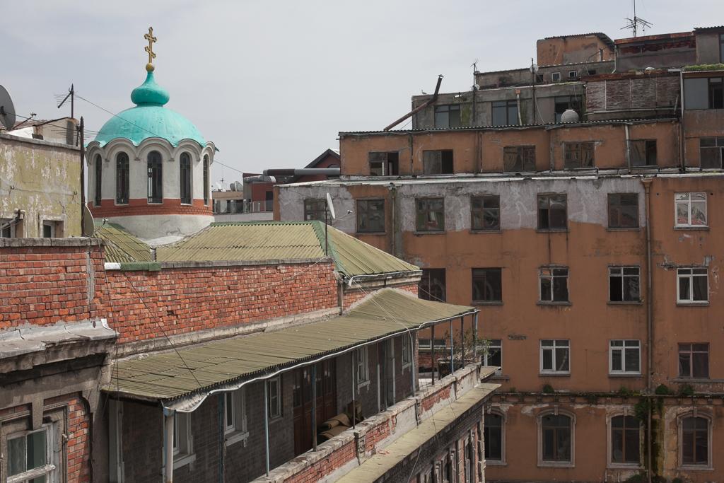 The Aya Andrea Russian Orthodox church on a rooftop in Istanbul's Karaköy neighborhood.