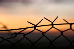 Zaun im Abendlicht
