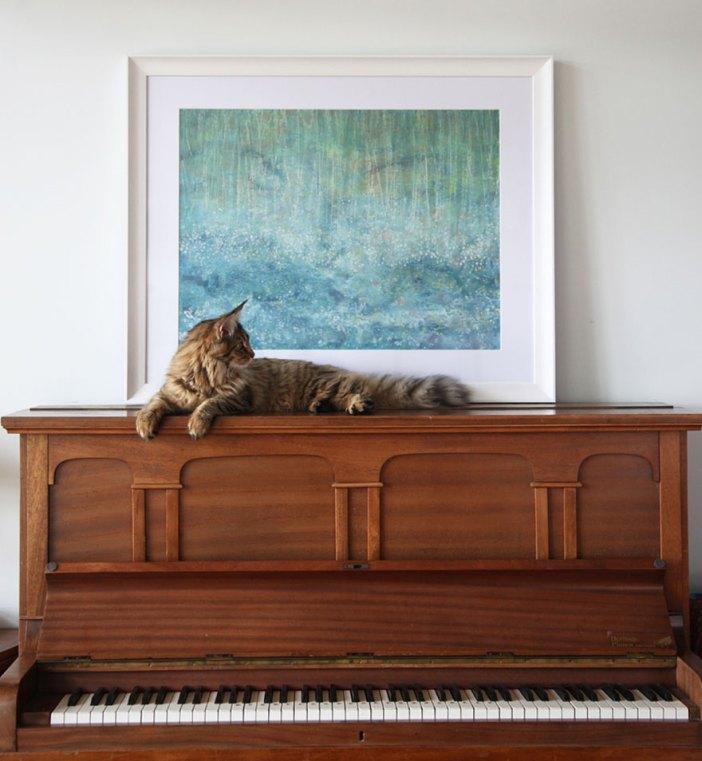 アイリスの絵画と猫
