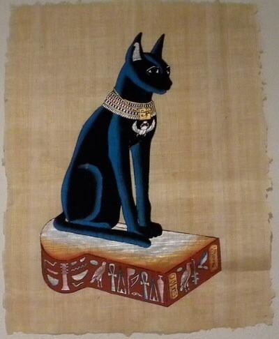 エジプトの壁画の猫