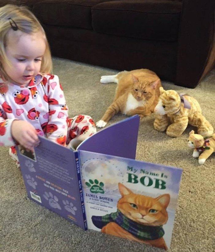 本を読み聞かせる女の子