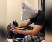 エリザベスカラーを嫌がる愛猫を、何とかして安心させようとした男性。人間サイズのカラーを作って、自ら装着する!