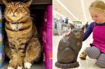 銅像になった猫