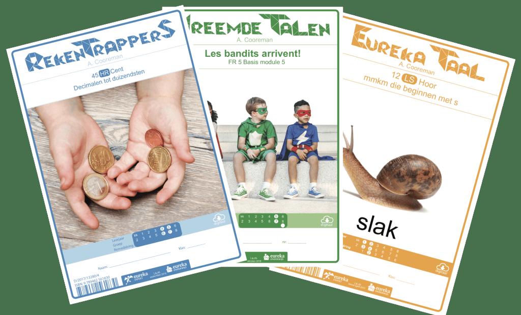 Cleverboeken: rekentrappers, Vreemde Talen en Eureka Taal. Allemaal hun eigen kleur: bauw voor rekenen, groen voor Frans en geel voor taal.