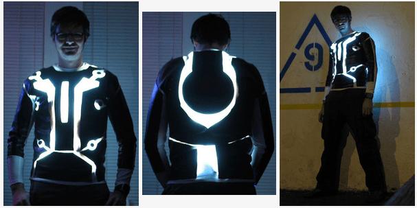 LED-lit Tron suite LED halloween 2015