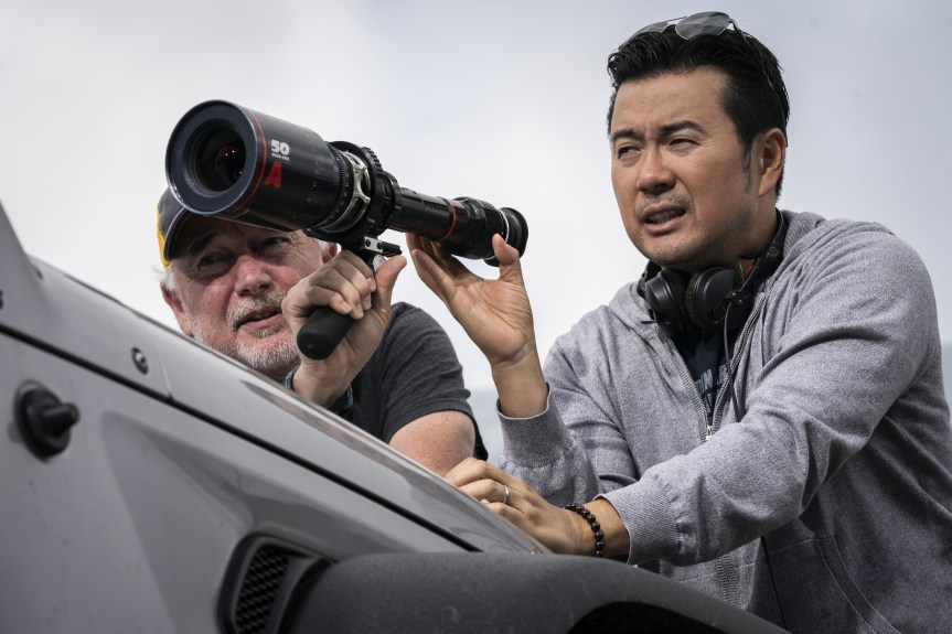 (from left) Director of photography Stephen F. Windon and director Justin Lin on the set of F9.