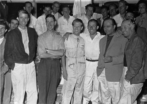 Targa Florio, 16 October 1955. The Mercedes-Benz racing teams (from left to right): John Cooper Fitch, Desmond Titterington, Peter Collins, Stirling Moss, Juan Manuel Fangio, Karl Kling. Targa Florio, 16 October 1955. The Mercedes-Benz racing teams (from left to right): John Cooper Fitch, Desmond Titterington, Peter Collins, Stirling Moss, Juan Manuel Fangio, Karl Kling.