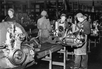 Forced laborer at thein engine assembly during World War II.