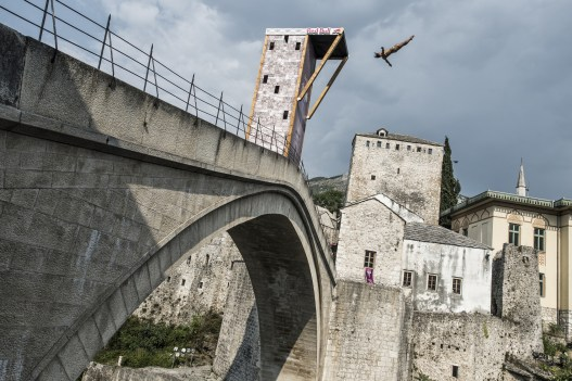 Todor Spasov of Bulgaria dives from the 28 metre platform on the Stari Most bridge during the seeding round of the sixth stop of the Red Bull Cliff Diving World Series, Mostar, Bosnia and Herzegovina on August 14th 2015.