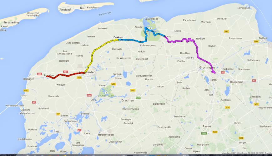 Map Groningen to Leeuwarden