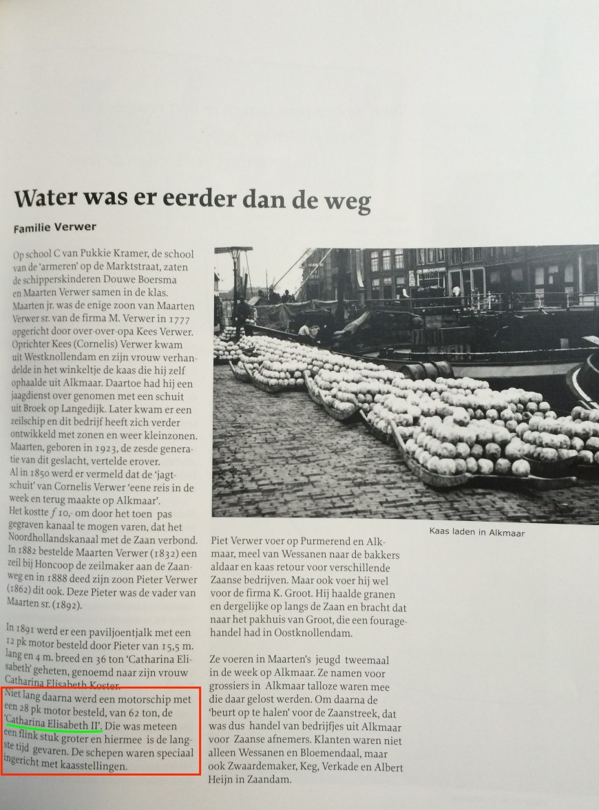 "The Verwer chapter ""Water was there before the road"" with the paragraph introducing our Catharina Elisabeth highlighted"