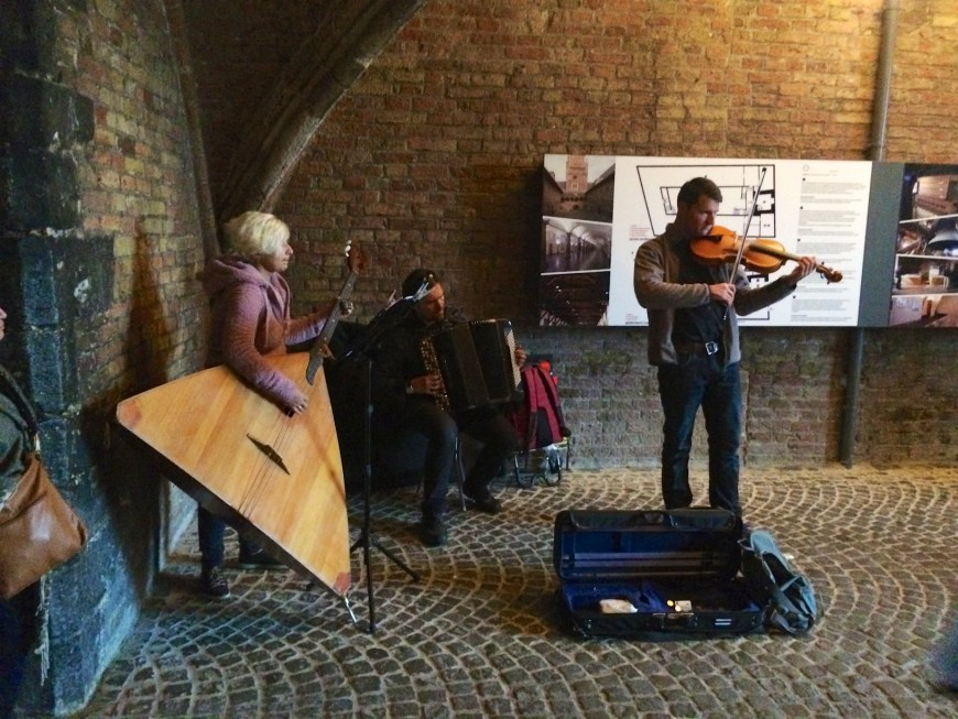 An unusual trio - violin, balalaika and accordion.