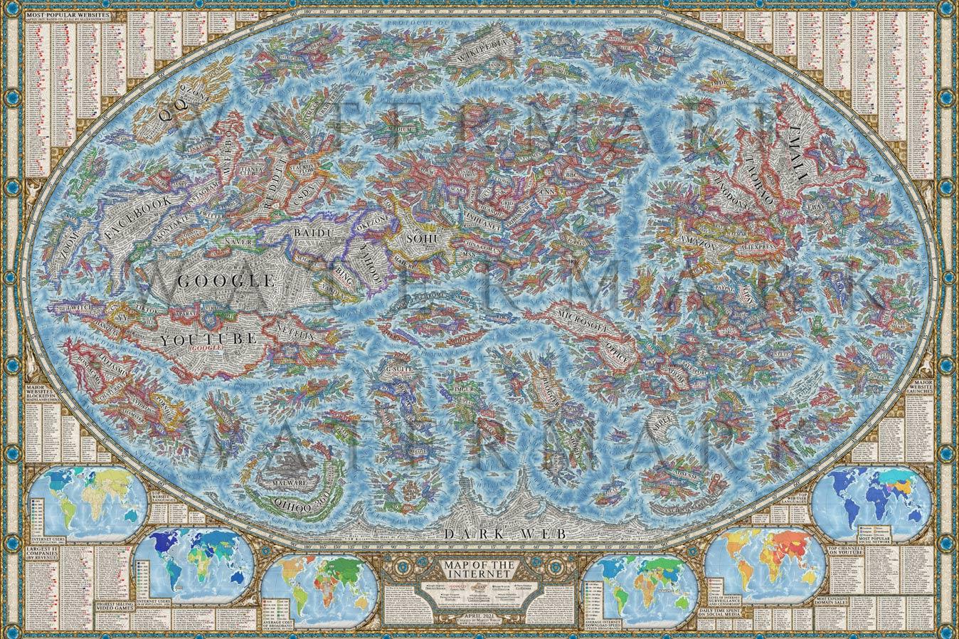 Художник из Словакии составил мировую карту интернета с наиболее посещаемыми сайтами