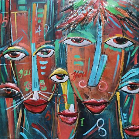 tableau metal swazi art africain 100x100 en relief