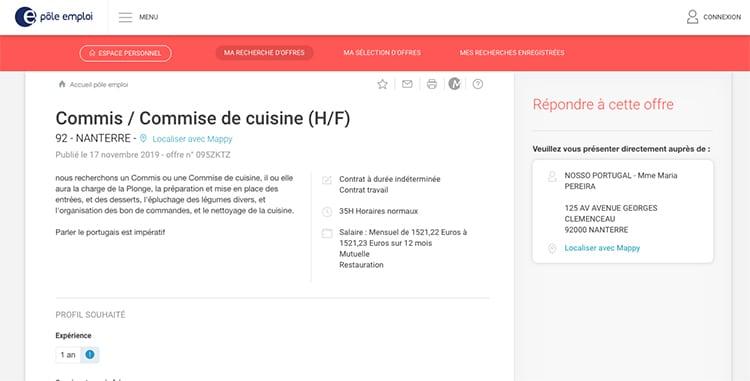 Ajudante de cozinha na França