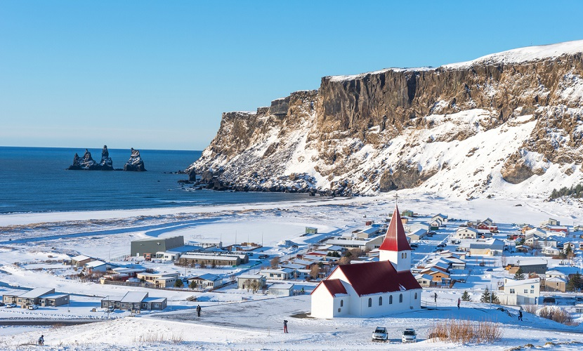 frio e neve na Islândia