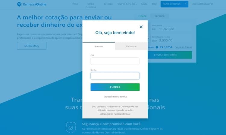 remessa online com instrucoes e apoio em portugues entrar
